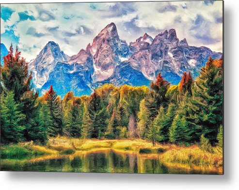 Autumn Metal Print featuring the painting Autumn In The Tetons by Dominic Piperata