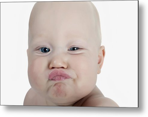 Blue Eyes Metal Print featuring the photograph Baby Making A Funny Face by Stuart Corlett