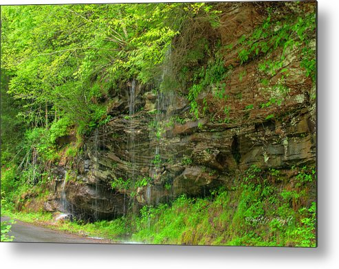 Feature Art Metal Print featuring the photograph Backroads Waterfall In West Virginia by Paulette B Wright