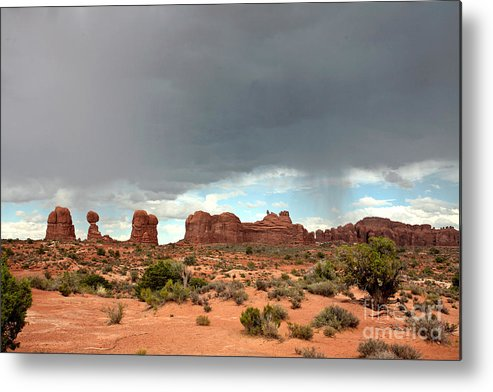 Arches National Park Metal Print featuring the photograph Balanced Rock Storm by Russell Christie