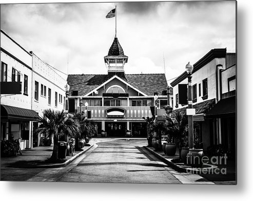 America Metal Print featuring the photograph Balboa California Main Street Black And White Picture by Paul Velgos