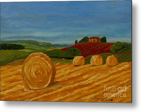 Hay Metal Print featuring the painting Field Of Golden Hay by Anthony Dunphy