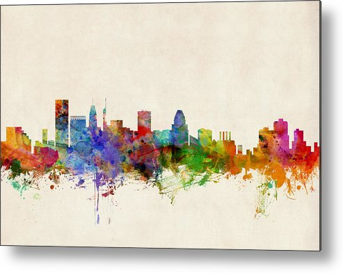 Watercolour Metal Print featuring the digital art Baltimore Maryland Skyline by Michael Tompsett