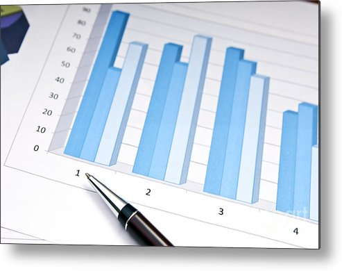 Accounting Metal Print featuring the photograph Bar Chart by Tim Hester