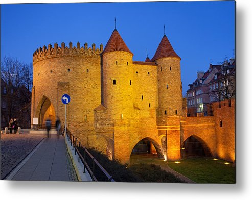 Warsaw Metal Print featuring the photograph Barbican At Night In The Old Town Of Warsaw by Artur Bogacki