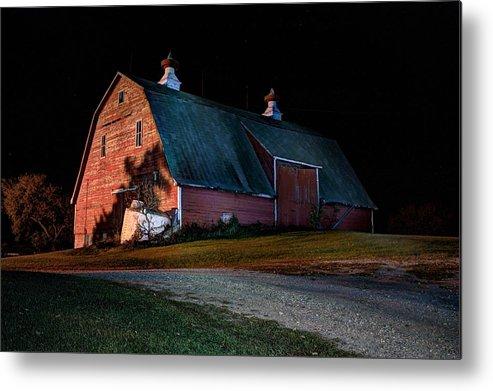 Red Barns Metal Print featuring the photograph Barn At Night by David Matthews