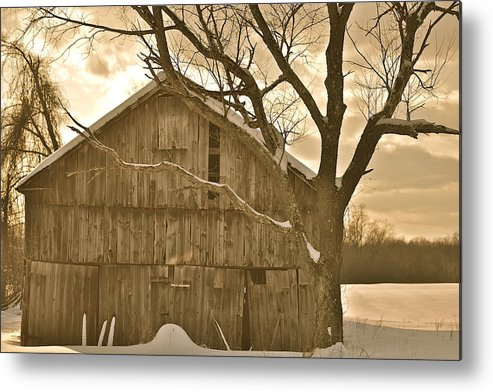 Barn Metal Print featuring the photograph Barn In Sepia by Rich Tanguay