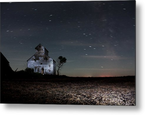 Red Barns Metal Print featuring the photograph Barn Night by David Matthews