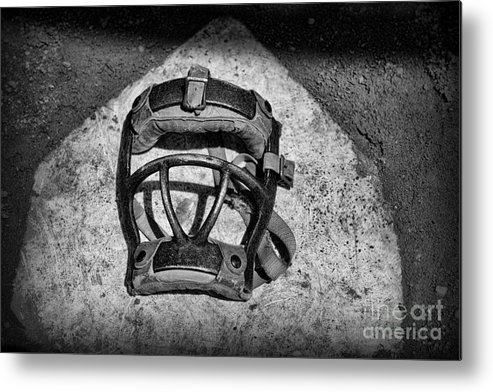 Paul Ward Metal Print featuring the photograph Baseball Catchers Mask Vintage In Black And White by Paul Ward