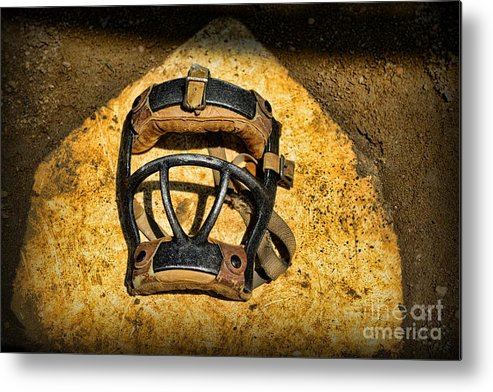 Paul Ward Metal Print featuring the photograph Baseball Catchers Mask Vintage by Paul Ward
