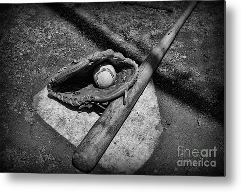 Paul Ward Metal Print featuring the photograph Baseball Home Plate In Black And White by Paul Ward