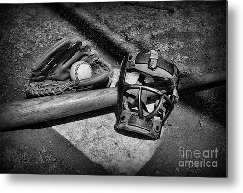 Paul Ward Metal Print featuring the photograph Baseball Play Ball In Black And White by Paul Ward
