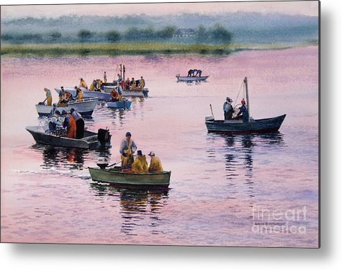 Boats Metal Print featuring the painting Bass River Scallopers by Karol Wyckoff