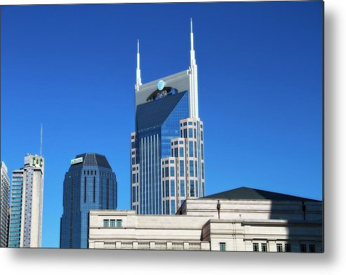 Batman Building And Nashville Skyline Metal Print featuring the photograph Batman Building And Nashville Skyline by Dan Sproul