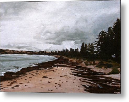 Landscape Metal Print featuring the painting Beach At Victor by Deanne Salter