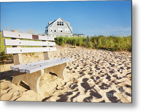 Bench Metal Print featuring the photograph Beach House Sunrise by Jo Ann Snover