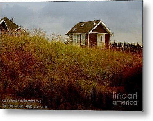 House Photograph Metal Print featuring the photograph Beach House W Scripture by Beverly Guilliams