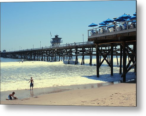 Childhood Metal Print featuring the photograph Beach View With Pier 1 by Ben and Raisa Gertsberg
