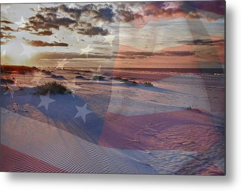Alabama Metal Print featuring the digital art Beach With Flag by Michael Thomas