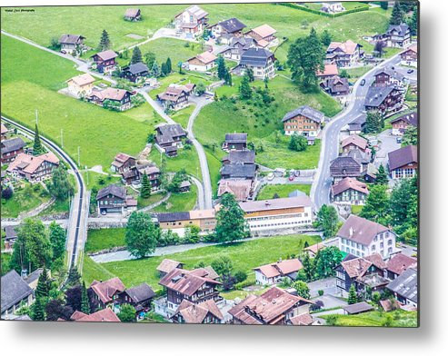 Aerial View Of Lauterbrunnen Metal Print featuring the photograph Beautiful Village Lauterbrunnen by Mehul Dave