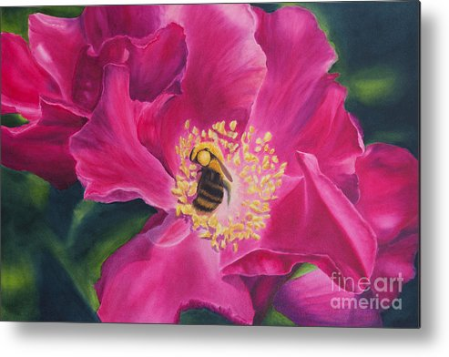 Pink Painting Metal Print featuring the painting Bee Happy by Melissa Maxwell
