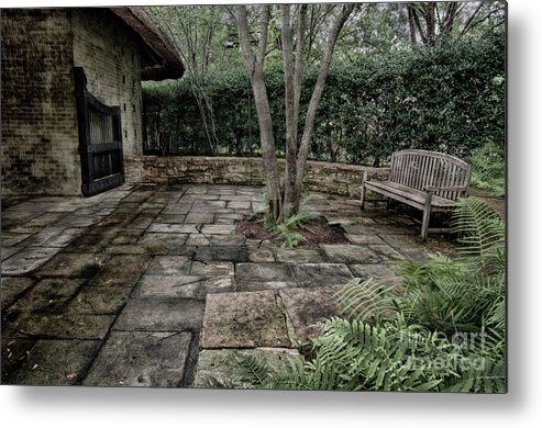 Wooden Metal Print featuring the photograph Bench In Lush Garden by Danny Hooks