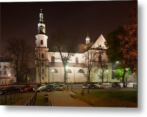 Krakow Metal Print featuring the photograph Bernandine Church At Night In Krakow by Artur Bogacki