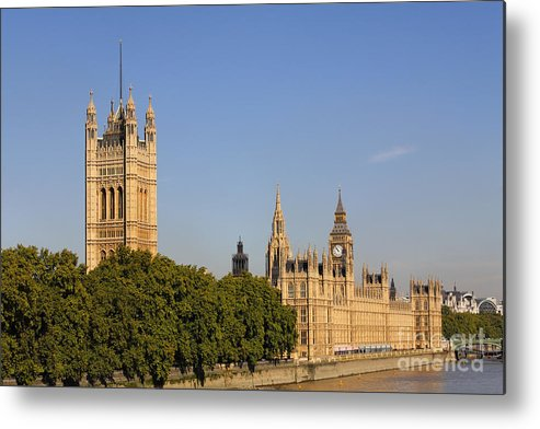 London Metal Print featuring the photograph Big Ben And The Houses Of Parliament In London England by Robert Preston