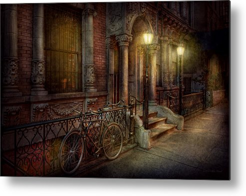 Savad Metal Print featuring the photograph Bike - Ny - Greenwich Village - In The Village by Mike Savad