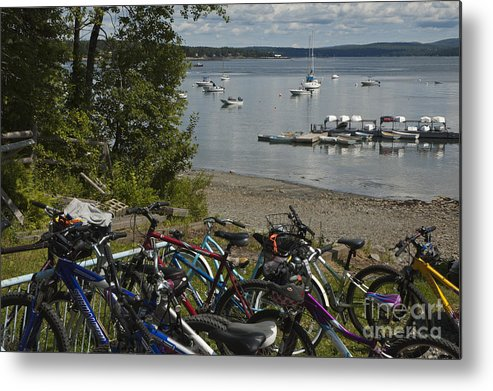 Bikes Metal Print featuring the photograph Bikes And Boats by Ruth H Curtis