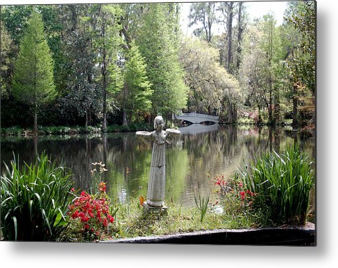 Bird Girl Metal Print featuring the photograph Bird Girl Of Magnolia Plantation Gardens by Suzanne Gaff