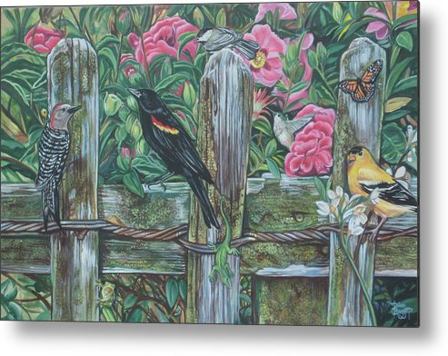 Birds Metal Print featuring the painting Birds On A Fence by Diann Baggett