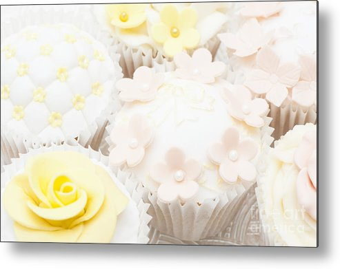 Cupcake Metal Print featuring the photograph Blossoms And Bows Cupcake by Anne Gilbert