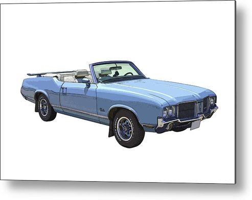 1971 Oldsmobile Cutlass Metal Print featuring the photograph Blue 1971 Oldsmobile Cutlass Supreme Convertible by Keith Webber Jr