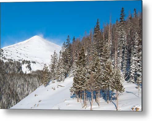 Blue Metal Print featuring the photograph Blue And White Colorado Winter by Cascade Colors