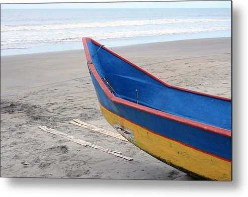 Fishing Boat Metal Print featuring the photograph Blue And Yellow Fishing Boat On The Beach by Robert Hamm