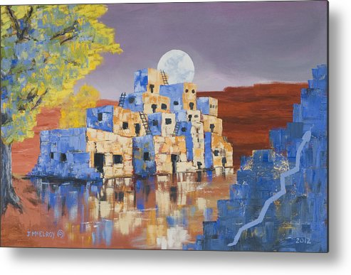 Landscape Metal Print featuring the painting Blue Serpent Pueblo by Jerry McElroy