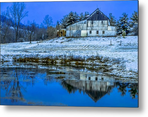 Agriculture Metal Print featuring the photograph Blue Sky Barn by Brian Stevens