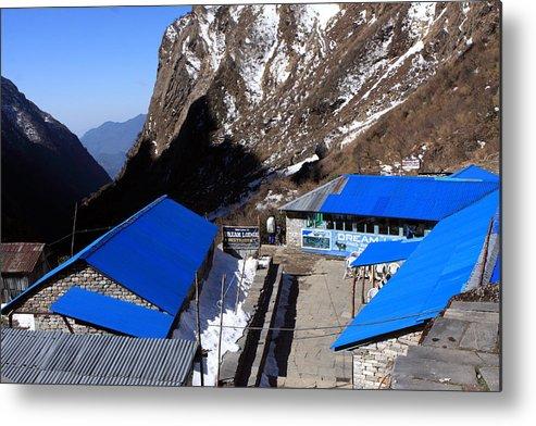 Himalayas Metal Print featuring the photograph Blue Tin Roof by Aidan Moran