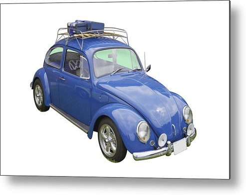 Punch Buggy Car >> Blue Volkswagen Beetle Punch Buggy Metal Print