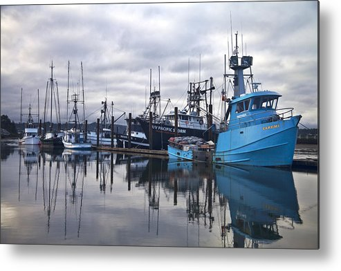 Newport Metal Print featuring the photograph Boats In Harbor Newport Oregon by Carol Leigh