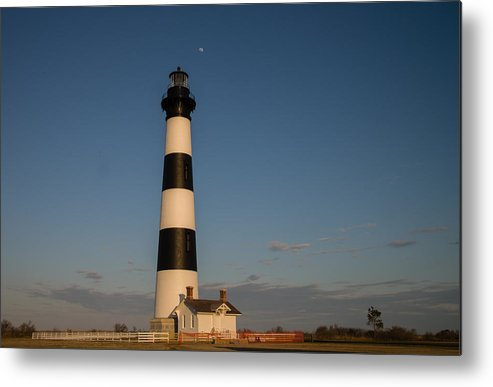 Light House Metal Print featuring the photograph Bodie Island Lighthouse Moon by Stacy Abbott
