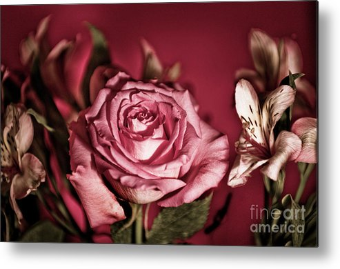 Rose Metal Print featuring the photograph Bold Pink Rose Bouquet by Linda Matlow