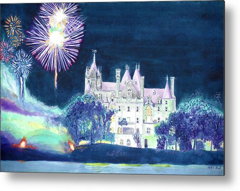 1000 Islands Metal Print featuring the painting Boldt Castle Fireworks by Robert P Hedden