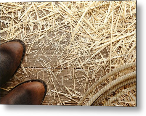 Cowboy Metal Print featuring the photograph Boots On Wood by Olivier Le Queinec