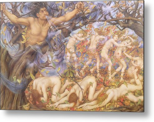William Metal Print featuring the painting Boreas And Fallen Leaves by Evelyn De Morgan