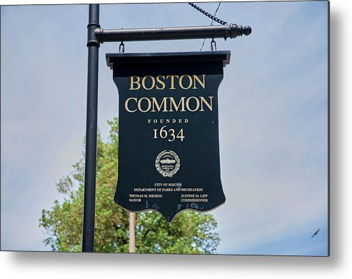 Photography Metal Print featuring the photograph Boston Common Park Sign, Boston, Ma by Panoramic Images