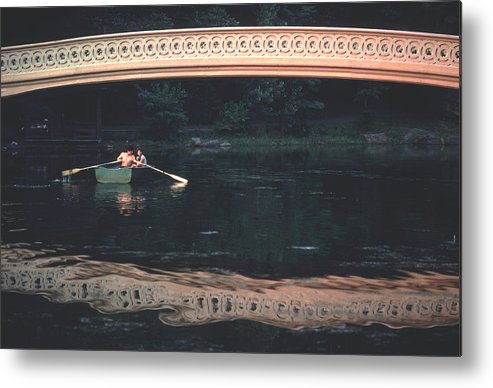 Summer Metal Print featuring the photograph Bow Bridge Rowboat Central Park by Tom Wurl