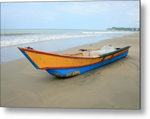 Fishing Boat Metal Print featuring the photograph Bow Of A Blue And Yellow Fishing Boat by Robert Hamm
