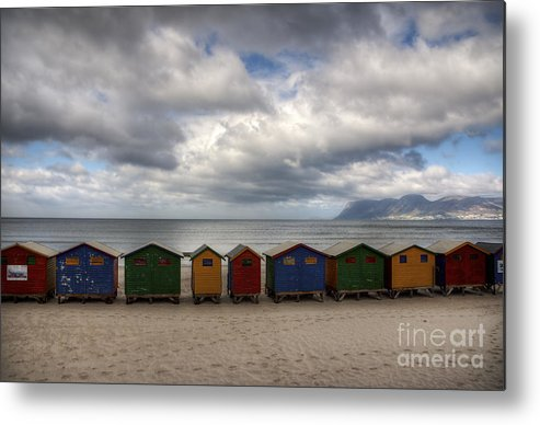 Muizenberg Metal Print featuring the photograph Boxes On The Beach by Barbara Youngleson